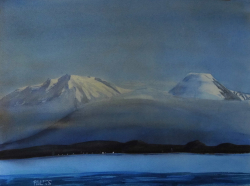 painting of ruapehu_and_ngauruhoe_from_taupo