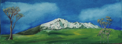 painting of Ruapehu first sight