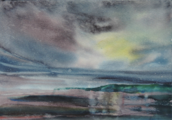 painting of Sunset Reflections, Foxton Beach
