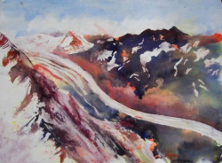 painting of tasman_glacier_from_the_air_2